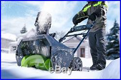 20-Inch 80V Cordless Snow Thrower 2.0 Driveway Sidewalks Patios Brushless Motor