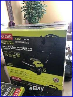 21 In. 40 Volt Brushless Cordless Electric Snow Blower Walkway Patio Driveway