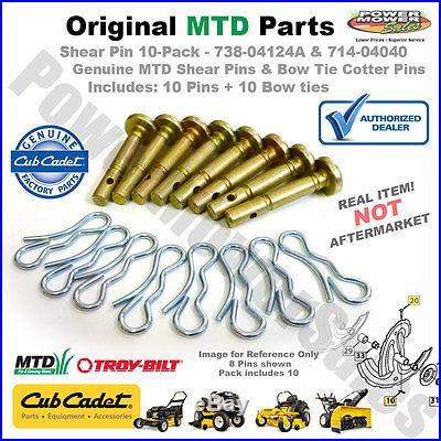 738-04124A-10PK Shear pins/cotters MTD, CUB & Troy-bilt Snow Throwers REAL OEM