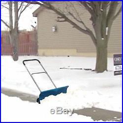 ADJUSTABLE HEIGHT SNOW PLOW PUSHER WithWHEELS 26 In. Wide Sidewalk Deck Driveway
