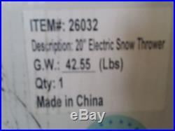 GreenWorks Electric Snow Thrower 12 AMP 20'' Corded Snow Thrower
