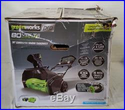 GreenWorks Pro 80V 20 Snow Thrower with 2Ah Battery & Charger