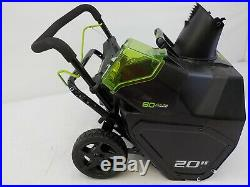Greenworks 2600402 PRO 20-Inch 80V Cordless Snow Thrower, 2.0 AH Battery