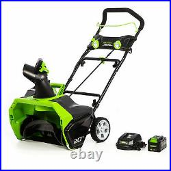 Greenworks 40V Brushless Motor Snow Blower with 4AH Battery and Charger