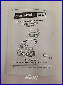 Greenworks PRO 20-Inch 80V Cordless Snow Thrower, Battery Not Included