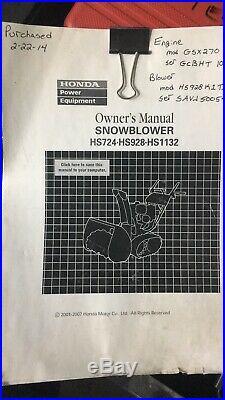 Honda Hs928 Snow Blower