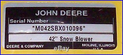 John Deere 42 Snowblower M042SBX Snow Blower LT Lawn Tractor LT150 LT160 LT170