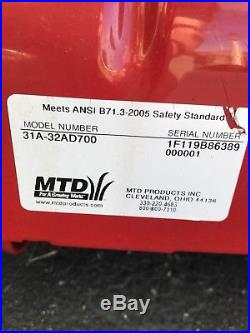 MTD Yard Machines 2 Stage 179cc 2 stage snowblower Excellent Cond #31A-32AD700