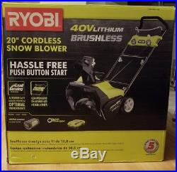Ryobi Cordless Snow Blower, 20 in. 40-Volt Brushless Electric Start (NIB)