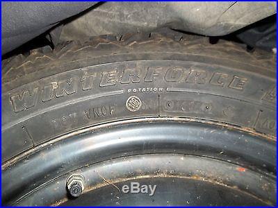 Snow tires 205/55/16, Winterforce brand on universal rims